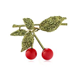 Freie Verschiffen-Art Charme-dekorative Weihnachten Red Cherry mit Blatt-Frucht-Brosche für die Dekoration Brosche