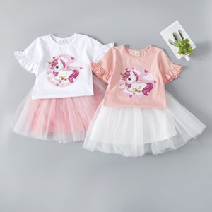 Girls summer new cartoon short-sleeved suit little girl cartoon short-sleeved T-shirt + mesh skirt pure cotton two-piece suit