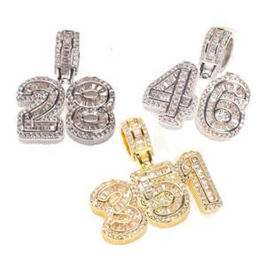Nuovo oro 18 carati Bling Bling Cubic Zirconia 0-9 Numeri Collana Ciondolo Iced Out Diamond Diamante DA TE Personalizzato Sport Numero di Sport Hip-hop Regalo per gli uomini Donne