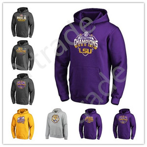 Hommes NCAA LSU Tigers College Football 2019 Sweat-shirt à capuche national Pull Champions Salut au service Sideline Therma Performance