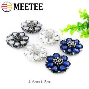 Meetee 35/38 / 46m Rhinestone Buckles Flower Decorative Buttons DIY Metal Button Coat Bin Handmade Seques Bd402