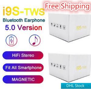 i9s tws Earbuds drahtlose Bluetooth-Kopfhörer für Android Bluetooth Headset v5.0 Kopfhörer mit magnetischer Aufladung Freien Verschiffen
