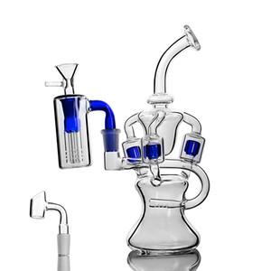 """Glass Bong 3 lampadario olio Recycler impianti di perforazione Tubi Oil Rigs bicchiere d'acqua 14 millimetri congiunte 9"""" perc diffusore alto con la cenere Cather ciotola banger"""