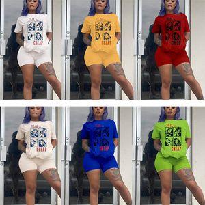 Summer Casual Women 2 Two Pieces chándal letra de impresión cómica Trajes camiseta de manga corta biker conjuntos cortos Jogger ropa deportiva trajes ropa