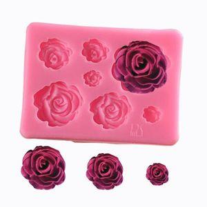 Cocina comedor Sugarcraft de la flor de Rose de silicona molde la pasta de azúcar del molde herramientas de decoración de chocolate molde de hornear Confeitaria accesorio LXL550-1