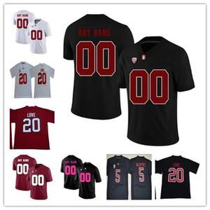 Personalizzato Stanford Cardinals calcio qualsiasi nome Numero Nero Rosso Bianco 20 Bryce Love 15 Davis Mills 5 McCaffrey Ertz Elway 12 Luck universitario Jersey