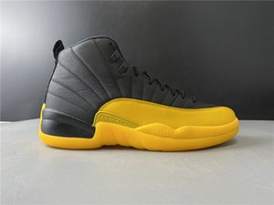 with Box 2020 Mens Basketball Shoes Sneakers 12S XII University Gold Black for Men Sports Shoes High Cut Size US7-13