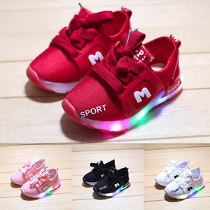 Children Girls Boys Shoes Toddler Infant Kids Shoes Letter Crystal Led Light Luminous Running Sport Sneakers