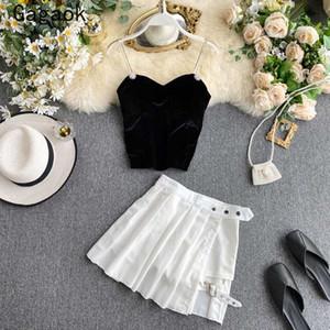 Gagaok donne sexy di alta Via delle 2 parti 2020 di estate del nuovo V-Collo Navel Solid Button Pullover + Mini Casual Top selvaggio Gonne
