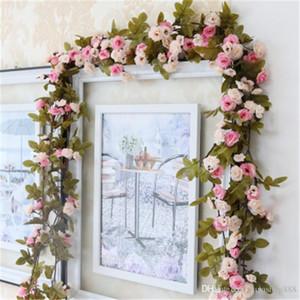 Falso 240CM para matrimonio artificial de Rose vid de la flor que cuelga de la guirnalda del partido Decoración decorativo Flores Coronas mayorista H119