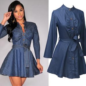 Recién botón de la moda casual de las señoras de vestido de dril de algodón de manga larga del O-cuello delgado Fajas Una línea de la rodilla-longitud vestido azul