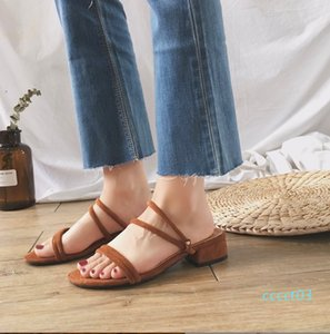 New Fashion Woman Sandals Designer Thick Heel Low Heel Buckle with Open Toe Women Party Dress Wedding Shoes One Buckle Bring Shoes ct3