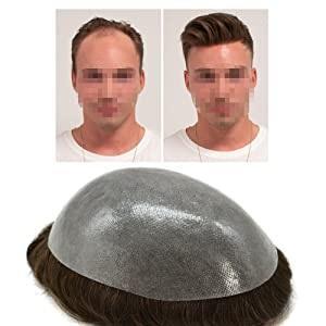 Aohai completa Poli para hombre Toupee Varios tamaños fino y elástico Sistema Humano Todo Cabello transparente reemplazo de la piel PU durable peluca peluca Hombres