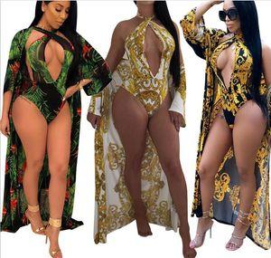المرأة الطباعة مثير غطاء كم طويل حتى النساء الصورة مصمم ثوب السباحة 2PCS مجموعة واحدة قطعة الخامس الرقبة ملابس السباحة مثير ملابس السباحة S-XXL