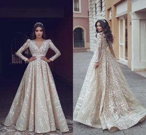 2019 Dijo Mhamad Light Champagne Sparkly vestidos de novia Cuello en V Mangas largas Una línea de encaje Apliques Lentejuelas Wedding Vestidos de novia
