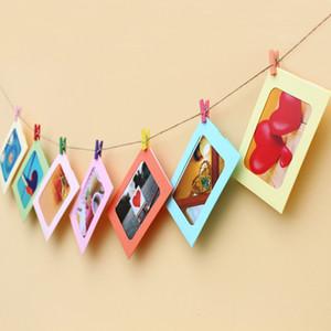 Dekor Asma 10 Ad Kağıt Fotoğraf Çerçevesi Kraft Kağıt Resim Çerçeveleri DIY Karton Fotoğraf Çerçeveleri ile Ahşap Klipler Ve Jüt Sicim Duvar