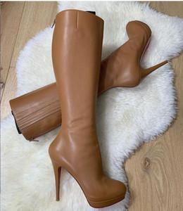 Brown-Schwarz-echtes Leder Hochzeit Schuh-rote Unterseite Stiefel für Damen Schuhe Stiefel Hohe Stiefel Bianca Botta wasserdichte Plattform-hohe Absätze