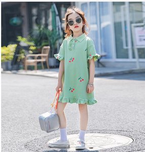 Baby girl dress kids lapel college style short sleeve pleated polo shirt skirt children casual designer clothing kids clothes