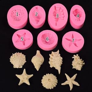 Herramienta Craft cubierta de silicona del molde de pastel Decoración Moldes 3D estrellas de mar Seashells de la concha cubierta de silicona del molde tema de la playa moldes reutilizables pasta de azúcar del azúcar