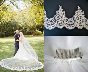 Branco Marfim Véus De Noiva 3 M Comprimento 2.5 M Largura Lace Appliqued Brida Véus Com Pente Um Camadas Longo Casamento Acessórios Para o Cabelo