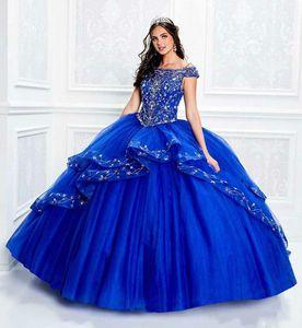 2020 Royal Blue Quinceanera fuori dalla spalla Appliqued merletto borda ragazze spettacolo del vestito abito di sfera dolce 16 Dresses