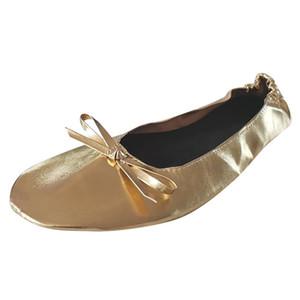Portátil de viaje plegable verano de las mujeres zapatillas de ballet planos del rollo del deslizador de los zapatos de baile zapatos de fiesta al aire libre zapatillas en Flip Flops