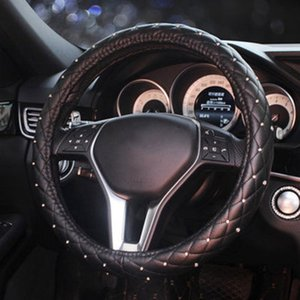 Kadınların Lady Kız Araba Aksesuarları için Kristal Elmas Oto Direksiyon-Kapaklar Bling Yüksek Kalite Deri Araba Direksiyon Kapakları