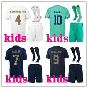 2019 2020 Real Madrid Kinder Trikots 19 20 Heim Weiß Auswärts 3. Junge Kind Jugend HAZARD JOVIC MODRIC BENZEMA Fußballtrikots