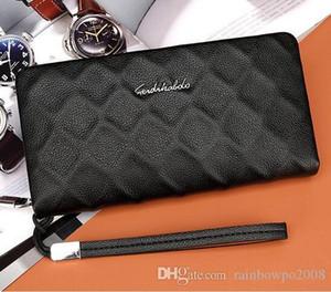 Aktuelle Geschäftsunterdrückung Ling Fall Narbenleder Mann Brieftasche Tasche klassische Leder lange Geldbörse Mode Leder Brieftasche Marke Hand