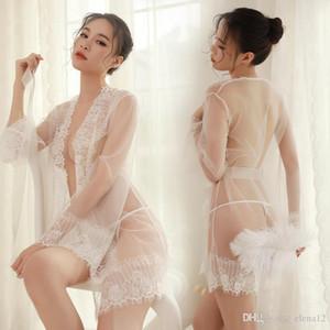Женские сексуальные нижнее белье с кружевами Ночные рубашки очень-сексуально зашнуруют стропы с пижамами Женские пижамные стринги пижамы Кружева Babydoll для женщин прямая поставка