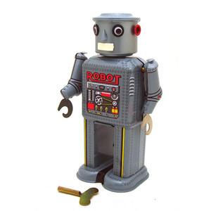 NB desenhos animados Tinplate robô Wind-up Toy, Retro Toy Clockwork, Ornamento Handmade, Nostalgic Estilo, Kid presente de Natal aniversário, Coleção, MS646