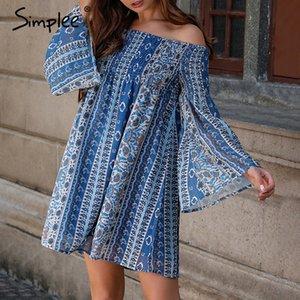 Simplee boho floral imprimir chiffon mulheres curto dress off-ombro solto vestidos de verão plus size casual praia feminina vestidos
