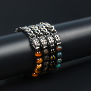 Pulseras para hombre de acero Stailess Joyería al por mayor 10 unids / lote Pulseras de cadenas de Buda de plata doble con cuentas de piedra natural de 8 mm Om
