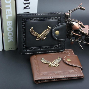 5pcs Wallets Men PU Short Eagle Vintage Clutch Wallet Brown Black