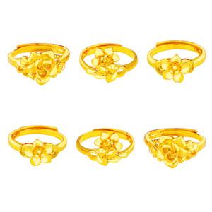 Moda placcato oro della sabbia fiore aperto anello femminile imitazione oro Retro semplice anello femminile Brass
