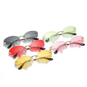2020 neue Art und Weise Trend lustige Sonnenbrillen Hot Stage Show Risse Sonnenbrillen Randlos Bunte Ein Stück UV400 Großhandel