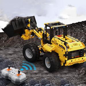 Tijolos carregador Bulldozer Truck CADA Cidade Engenharia Technic RC C51057 C51058 carro máquina Building Blocks rodas Caterpillar escavadora