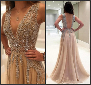 Luxury Beadings Crystals Sequined Deep V Neck Prom Evening Dresses Long Lace Applique Backless Formal Dresses Evening Gowns Vestidos