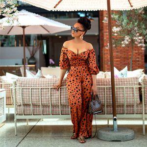 Polka Dot плеча Комбинезоны женские Дизайнерские Rompers Обмотанные Грудь Половина рукава Длинные брюки костюмы Тонкий Повседневные летние женские Комбинезоны