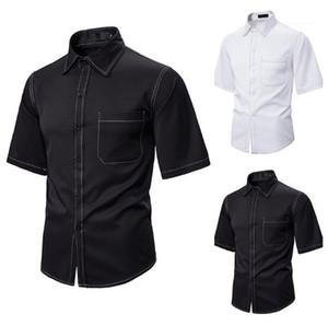 Lapela do pescoço manga curta Relaxado Shirts Street Style Mens Verão Shirts Hip Hop dos homens do desenhista Shirts Moda