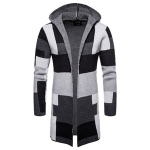 Plaid Long Mens Coats Patchwork Color Cardigan Hooded Mens Blends Knitted Striped Loose Casual Male Outerwears