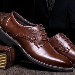 Hih calidad del cuero genuino de los hombres Broues zapatos de cordones Bullock negocio del vestido oxfords de los hombres calza los zapatos formales Male Plus Size38-48