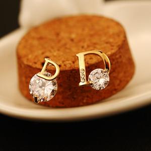 2020 Nouvelle mode Zircon Mesdames Boucles d'oreilles asymétriques 18K Gold Plated Marque Boucles d'oreilles bijoux de haute qualité tempérament de luxe Boucles d'oreilles féminines