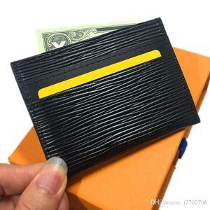 Clásico titular de la tarjeta de cuero genuino Negro Delgado tarjeta de identificación delgada caso de la bolsa de bolsillo monedero de los hombres de moda Pequeño Monedero bolsa del recorrido