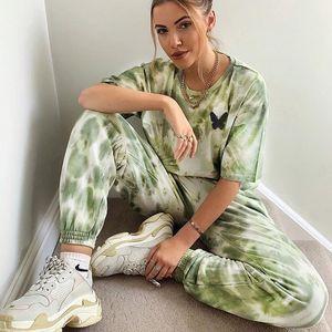 Femmes Sweatpants Tie Dye Pantalon Hip Hop imprimé papillon Cadrage en pied Jogger Pantalon 2020 Printemps Été Pantalon de jogging Casual pour Femme