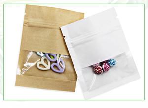 Kraft бумажный мешок с прозрачным окном для хранения продуктов Сумки Resealable Proofing мешочков пахнет Proof Sample Материал чай кофе Packet