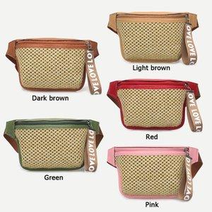 Summer Bohemian Design Beach Straw Weave Waist Fanny Packs Women's Belt Waist Bag Pure Pouch Zipper Chest Bag