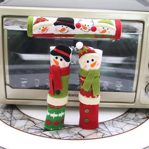 Lidar com o Natal Decor Frigorífico Porta Styles mangas dos desenhos animados do boneco de neve pano Microwave alças da tampa Fit domésticos 3 Pcs 15 8HB E1