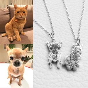 Персонализированные Pet Cat собак Фото Серебряный кулон ожерелье гравированные Имя 925 Sterling Silver Dog Tag ожерелье Лучший Мемориал женщин