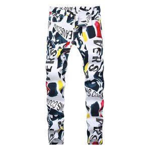 Мужчины 3D печати Hip Hop джинсовые брюки Новая мода марка человек случайные брюки 3D Окрашенные джинсы Красочные Белый Узкие хлопок Смешать длинные брюки